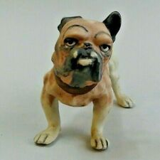 VICTORIAN ANTIQUE GERMAN BISQUE PORCELAIN BULLDOG FIGURE C.1880