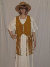 Vintage 70s Hippie Vest Suede Leather Long Fringe Apache Leather Boho Festival S