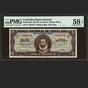 Banco Nacional de Costa Rica 2 Colones Apr. 1943 PMG 58 EPQ About UNC P-201a