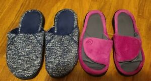 Lot Of 2 Isotoner Slippers Size 6.5-7, Memory Foam, Enhanced Heel Comfort Cusion