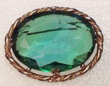 grandes broche año 50/60 cabujón de cristal tallado verde color oro 3228