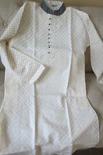 Men's Kurta--White Cotton -Embroidered  Punjabi -cream color