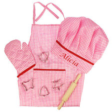 Personalised Embroidered Kids Baking Set Apron cutters Chef Hat Pink Gift Box