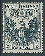 1915-16 REGNO PRO CROCE ROSSA 15+5 CENT MH * - G189