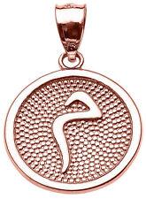 "14k Rose Gold Arabic Letter ""miim"" M Initial Charm Pendant"