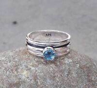 925 Sterling Silver & Blue Quartz Stone Spinner Ring All Size Handmade H-02