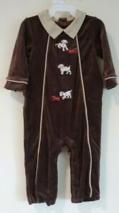 NWT Janie and Jack Puppy Love Brown Velour Longall Size 3-6 Month