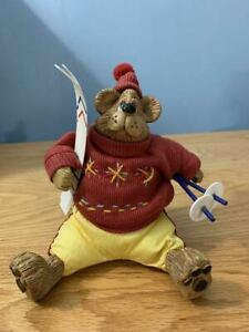 *RARE* BEAR WITH WINTER SWEATER SKI GEAR DOLL DECORATION RUSS BERRIE & CO. TOYS