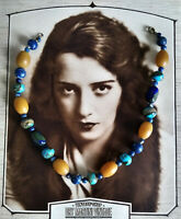 VINTAGE ART DECO HUBBELL BEADS FAUX TURQUOISE LAPIS AMBER NECKLACE BOHEMIAN RARE