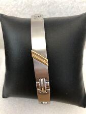 "Stainless Steel Bracelet 8"" ID TYPE W/10K GOLD & DIAMONDS FREE ENGRAVING"