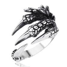 Men Vintage Retro Punk Biker 316L Stainless Steel Black Silver Dragon Claw Ring