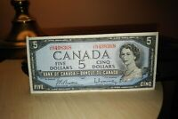 1954 $5 Dollar Bank of Canada Banknote JX9498368 Crisp
