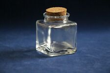 Simple square glass inkwell with cork stopper - 50 ml