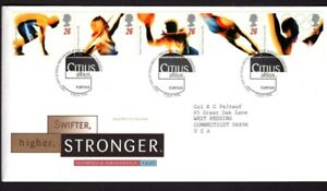 GB FDC Scott 1688-1692, 1996 Summer Olympic Paralympic, strip of 5