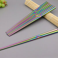 1 Pairs Stainless Steel Chopsticks Rainbow Chop Sticks Set Assorted Home Gift