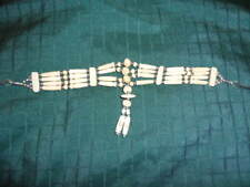 Native American Style Bone Choker 4 Strands and Pendant Necklace