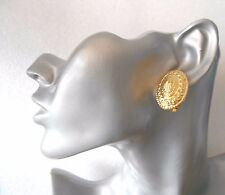 Classic Patterned Gold Oval Clip-on Earrings - SECONDS QUALITY