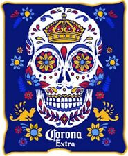 New Corona Extra Sugar Skull Plush Fleece Throw Blanket GIFT Beer Bottle Logo