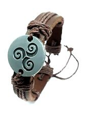Triskele Triskelion Triple Spiral Symbol Real Leather Bracelet Cuff Adjustable