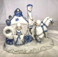 vintage Porcelainl blue and white horse drawn Cinderella carriage, firgurine