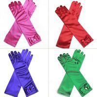 Kids Girl Satin Long Gloves Opera Wedding Halloween Party Prom Costume Gloves