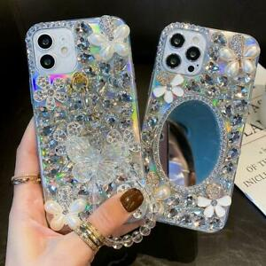 3D Luxury Women Sparkling Bling Diamonds Back Clear Soft Phone Case for Huawei B