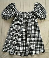 Solid & Striped Women's Check Babydoll Madras Dress Size M Medium New With Tags