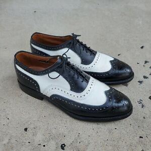 ALLEN EDMONDS BROADSTREET Spectator Black / White Leather sz 8.5 B MENS US