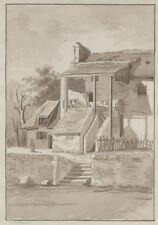 """""""MAISON et L'ESCALIER"""" Dessin original encre sépia signé SG. 0610//1810 29x46cm"""