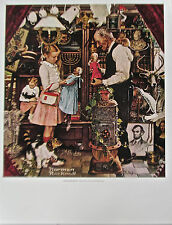 Norman Rockwell Poster of April Fool: Girl with Shopkeeper 14x11 Offset Litho