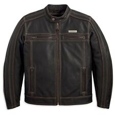 Harley Davidson Men's Trenton Brown Vintage Riding Leather Jacket XL 97106-12VM