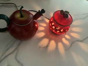 Lot Of 2 Red Decorative Apple Table Lamp Light and Apple Kettle For Kitchen