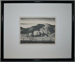 Listed American Artist Peter Hurd, Original Signed Lithograph Small Edition Rare