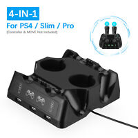 4 in 1 Controller Charger Dock Charging Station For Playstation PS4 PSVR VR Move