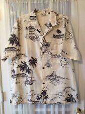 Royal Creations Mens Vintage Hawaiian Shirt Size XLarge Island Map Beige Brown