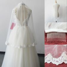 1T Elbow Wedding Bridal Veil With Comb Lace Edge Accessories Real Photo New