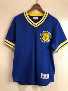Golden State Warriors authentic Mitchell & Ness v-neck mesh jersey tee (size: M)