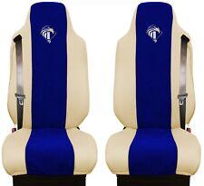 Iveco Stralis ab 2003 Passform Beige - Blau Sitzbezüge Kunstleder LKW Stoff TIR