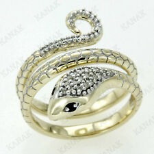 0.15 Ct Round Cut Natural Diamond 9k Yellow Gold Snake Ring For Women's