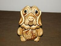 "VINTAGE 6 1/2"" HIGH LUCKY PENNY PUPPY DOG CERAMIC BANK *CRACKED & GLUED TOGETHER"