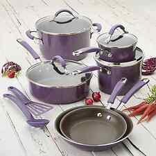 Rachel Ray Cookware Set Nonstick Purple Pots Pans Lids Non Stick Rachael NEW