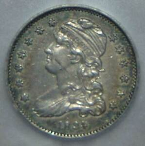 GRADED ALMOST UNCIRCULATD, 1834 Capped Bust Silver Quarter Dollar, GREAT TONING!