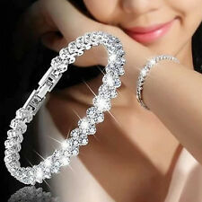 Women Lady's Roman Chain Clear Zircon Crystal Bangle Rhinestone Bracelet Gift