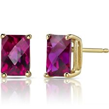 2.57 ct Radiant Cut Red Created Ruby Stud Earrings in 14K Yellow Gold