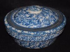 vintage dutch oven crock pot with lid stoneware blue spongeware