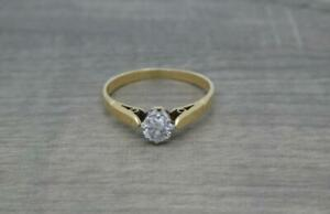 Vintage Classic 18ct Yellow Gold 0.33ct Diamond Solitaire Ring UK size N 1/2