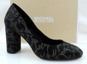 Women's Michael Kors Jamie Pump Studded Block Heel Floral Print Black Size 9