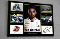 "Lewis Hamilton F1 Mercedes 2019 Framed Canvas Print Signed ""Great Gift/Souvenir"""