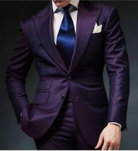 Purple Men's 2 Piece Peak Lapel Wedding Groom Tuxedos Groomsman Best Man Suits