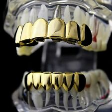 Best Grillz 14K Gold Plated Set Plain Teeth Top Bottom Slugs High Quality Grills